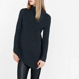 Express turtle neck slit sweater asymmetrical hems